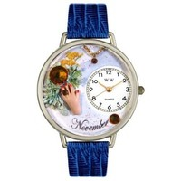 Whimsical Unisex Birthstone: November Royal Blue Leather Watch