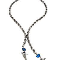 Janis By Janis Savitt Silver Rope And Capri Blue Crystal Lariat Necklace