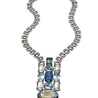 Janis By Janis Savitt Silver Sea Opal And Light Azore Crystal Bib Necklace