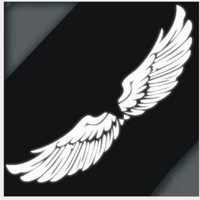GINOVO Pair of Angel's Wing Tailstock Logo Decal White Reflective Car Sticker/decal
