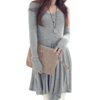 Women's Round Neck Long Sleeve Stretchy A Line Casual Dress