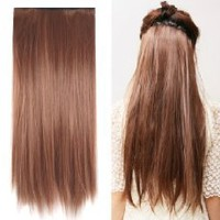 "MapofBeauty 23"" Long Straight Clip in Hair Extensions Hairpieces (Light Brown)"