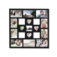Adeco [PF0431] 14-Opening Black Wooden Wall Hanging Collage Picture Photo Hanging Frame - Holds 4x6, 3.5x5, 2.8x2.8 Inches Photos, Home Decor Wall Art