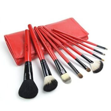 9 Pcs Comestic Makeup Brushes Set Kit with Black Red Bag