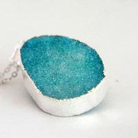 Ocean Blue - Natural Agate Titanium Druzy Geode Quartz Crystal Rough Cut Rock Nugget Necklace OOAK - Blue Druzy Necklace - SDN14