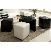 Furniture of America CM-BN6713 Ruti Coffee Table with Ottomans
