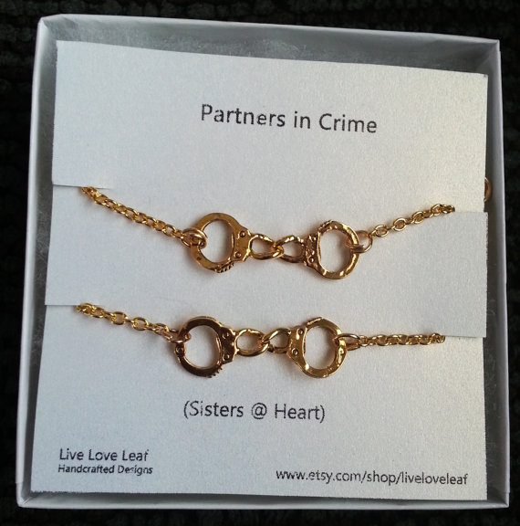 partners in crime matching bracelets for from liveloveleaf on