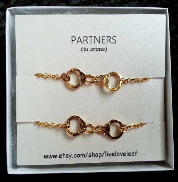 partners in crime matching handcuffs from liveloveleaf on etsy
