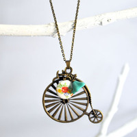 Bicycle Necklace Antique Bicycle Pendant with Glass by Maguida