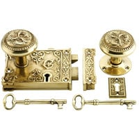 3 1/4&quot; x 4 1/8&quot; Brass Decorative Lock Set