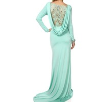 Traycee- Mint Crochet Draped Long Dress