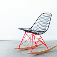 EAMES RKR by C+C Custom Flat Black on Marfa Red Rocker Base