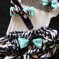 Baby girl outfit complete bodysuit mint zebra print bloomers mint green black and white ruffles rhinestones