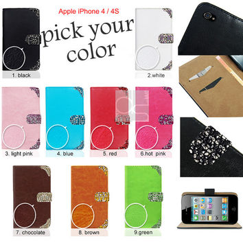 iphone 4S Bling case iPhone 4S Cover iPhone 4 Pouch iPhone 4 Leather Case iPhone 4S Wallet Case iPhone 4 S Sleeve Case for iPhone 4 Case FPC