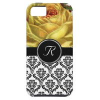 Black Damask Yellow Rose Monogram Case