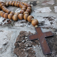 Love Beads for your home....Chunky Style Brown Stain w/ Cross 1