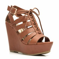 Get Laced Up Strappy Cut-Out Wedges