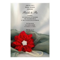 Poinsettia and Pearls Winter Bridal Shower Invite