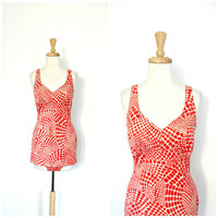1970s One Piece Swimsuit / maillot / bathing suit / Cole of California / pin up swimwear / skirt swimsuit / small medium