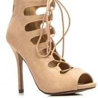 Beige Lace-Up Gladiator Bootie