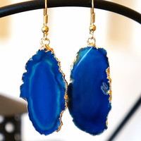 Paradise Filled Blue Agate Slice Earrings - Geode Earrings - Geode Druzy - Stone Jewelry
