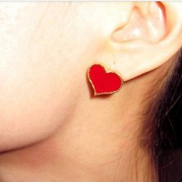 Cute Red Heart Earrings