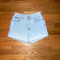 Vintage Denim Cut Offs - High Waisted 90s Light Stone Wash Jean Shorts - Cut Off/Frayed/Distressed/Rolled Up Calvin Klein Shorts Size 9/10