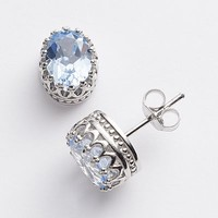 Sterling Silver Lab-Created Aquamarine Oval Crown Stud Earrings