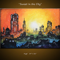 Amy Giacomelli Painting Cityscape Original Large Modern Contemporary ... 24 x 36 .. Sunset In the City