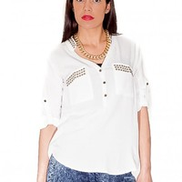 White Studded Blouse