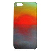 Red Sunrise iPhone 5C Case - Pastel Drawing