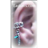Tribal Handmade Ear Cuff, with Silver Feather and Stone Charm-earlum
