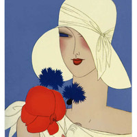 Art Deco Lady with a Large Red Flower Giclee Print at Art.com