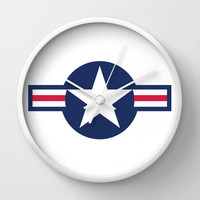 US Air force Roundel insignia Wall Clock by Bruce Stanfield