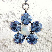 Swarovski crystal flower pendant, light sapphire and white opal daisy, better than sabika, GREAT DEAL