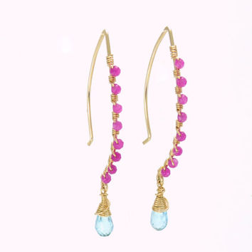 long dangle earrings - bright drop earrings - blue topaz earrings - 14k gold fill jewelry - pink and blue earrings - unique handmade jewelry