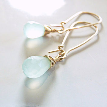 aqua chalcedony earrings - beautiful gemstone earrings - dangle earrings - handmade artisan jewelry - blue earrings