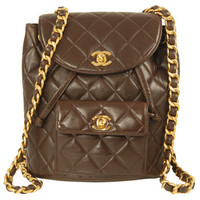 Chanel Brown Leather Lambskin Quilted Backpack