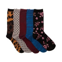 Womens Floral Leopard Crew Socks 5 Pack