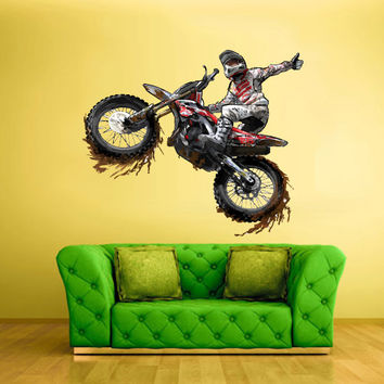 Full color wall decal mural sticker decor from for Dirt bike wall mural