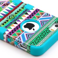 Pandamimi ULAK(TM) Hybrid High Impact Tribal Soft TPU + Hard PC Case Cover for Apple iPhone 5S 5 5G with Screen Protector and Stylus (Green + Blue)