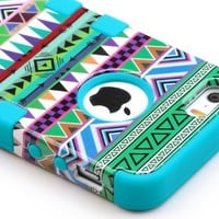 iPhone 5S Case, Pandamimi ULAK(TM) Hybrid High Impact Tribal Soft TPU + Hard PC Case Cover for Apple iPhone 5S 5 5G with Screen Protector and Stylus (Pink + Blue)