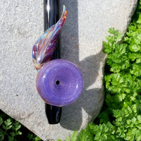 Native Medicine: Glass Peace Pipe with Purple Bowl & Feather Sculpture