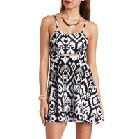 CUT-OUT IKAT PRINT SKATER DRESS