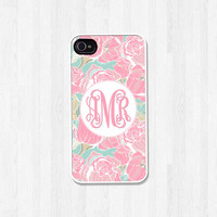 Personalized Phone Case, iPhone 4 4S, iPhone 5 5S 5C, Samsung Galaxy S3 S4, iPhone Case, Phone Cover, Pink Floral Monogram (424)