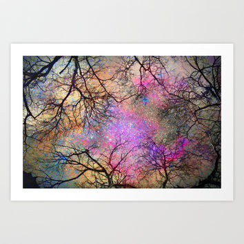 Sky dreams. Serial. Warm pink Art Print by Guido Montañés