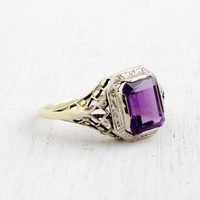 Antique 14k White & Yellow Gold Purple Spinel Ring - Size 7 1/4 Vintage Filigree Art Deco 1920s Fine Jewelry