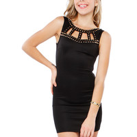 Papaya Clothing Online :: NECK STUDED BODYCON DRESS