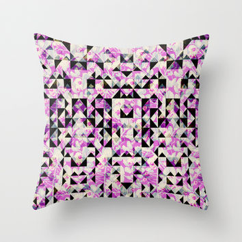 GEO FLORAL Throw Pillow by Nika