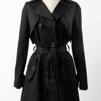 Black Classic Trench Coat w/Belted Waist #outerwear #black #trenchcoat #coat #trench #raincoat #classy #chic #love #want #need #wish #cute